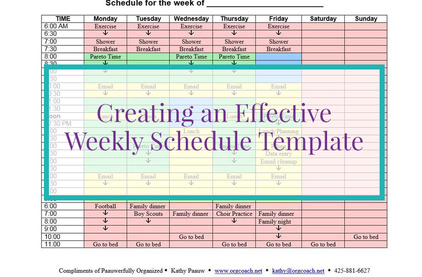 Creating An Effective Weekly Schedule Template   Paauwerfully Organized